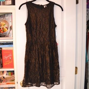 Frenchi Black and Gold Lace High Neck Dress